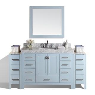 72-inch Malibu Gray Single Bathroom Vanity with 2 Side Cabinets & Marble Top