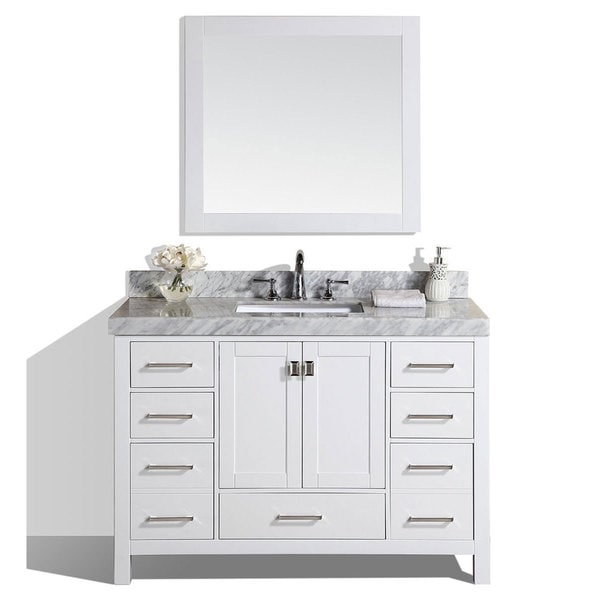 60 Malibu White Single Modern Bathroom Vanity With Marble Top