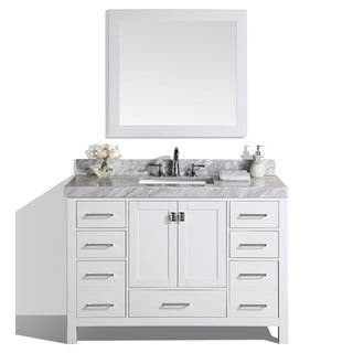 60 Inch Malibu White Single Modern Bathroom Vanity With Marble Top
