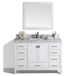 60inch malibu white single modern bathroom vanity with white marble top