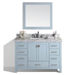60-inch Malibu Gray Single Modern Bathroom Vanity with White Marble Top