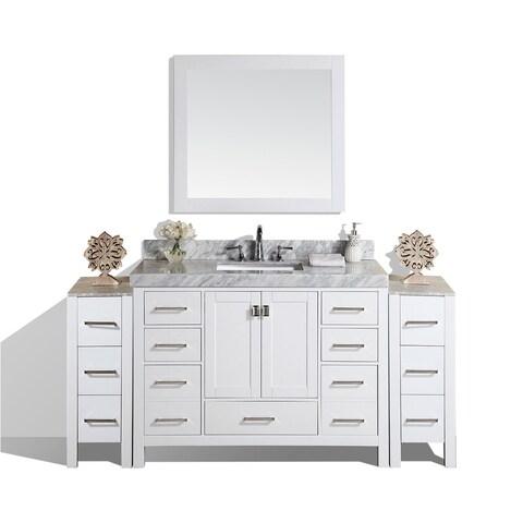 "84"" Malibu White Single Bathroom Vanity with 2 Side Cabinets & Marble"