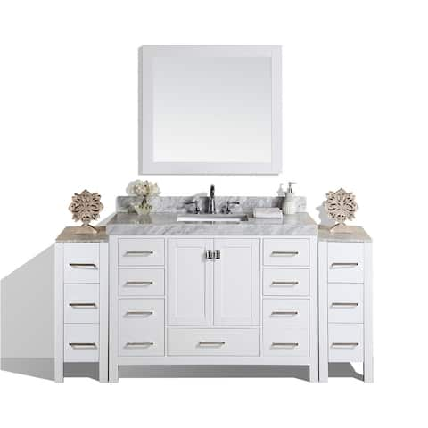"84"" Malibu White Single Bathroom Vanity with 2 Side Cabinets & Marble"