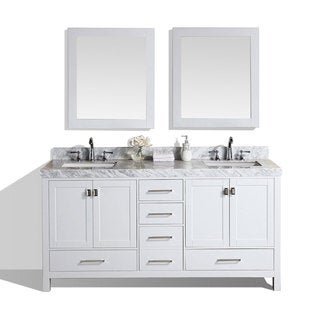 60inch malibu white double modern bathroom vanity with white marble tops