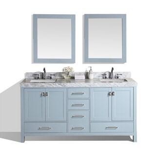 60-inch Malibu Gray Double Modern Bathroom Vanity with White Marble Tops