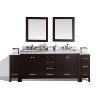 Pacific Collection Malibu 84-inch Espresso Marble Top Double Bath Vanity with 2 Side Cabinets