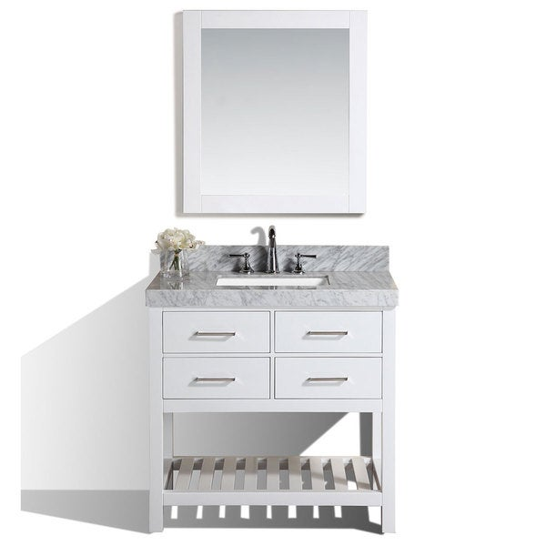 Shop 40 Inch Laguna White Single Modern Bathroom Vanity With White Marble Top On Sale Free