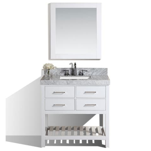"40"" Laguna White Single Modern Bathroom Vanity with White Marble Top"