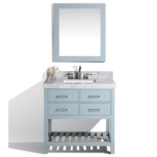 40-inch Laguna Gray Single Modern Bathroom Vanity with White Marble Top