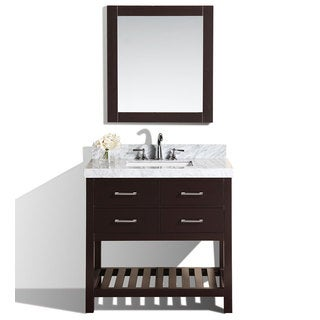 40-inch Laguna Espresso Single Modern Bathroom Vanity with White Marble Top