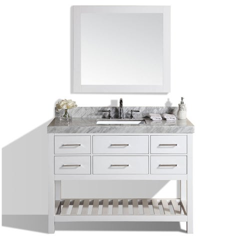 Pacific Collection Laguna 48-inch White Single Modern Marble Top Bathroom Vanity