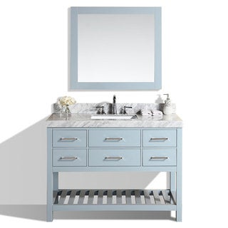 48-inch Laguna Gray Single Modern Bathroom Vanity with White Marble Top