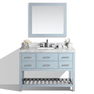 48-inch Laguna Gray Single Modern Bathroom Vanity with White Marble Top