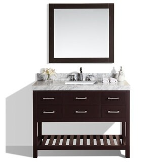 48-inch Laguna Espresso Single Modern Bathroom Vanity with White Marble Top
