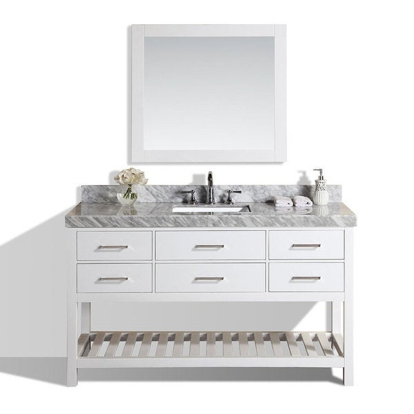 Beau 60 Inch Laguna White Single Modern Bathroom Vanity With Marble Top