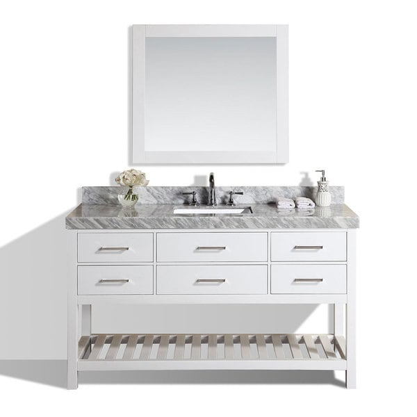 60 Inch Laguna White Single Modern Bathroom Vanity With Marble Top