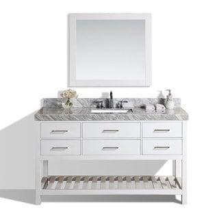 60-inch Laguna White Single Modern Bathroom Vanity with White Marble Top