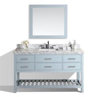 60-inch Laguna Gray Single Modern Bathroom Vanity with White Marble Top