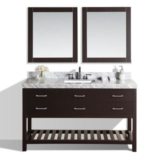 60-inch Laguna Espresso Single Modern Bathroom Vanity with White Marble Top
