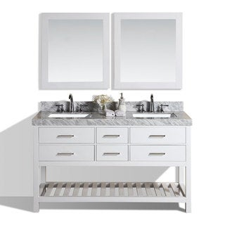 Cool Pacific Collection Laguna inch White Double Modern Marble Top Bathroom Vanity