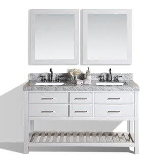 Pacific Collection Laguna 60 inch White Double Modern Marble Top Bathroom  Vanity. 51 60 Inches Bathroom Vanities   Vanity Cabinets For Less