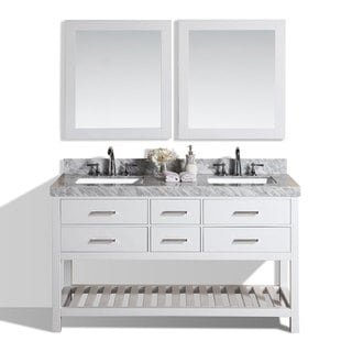 Pacific Collection Laguna 60 Inch White Double Modern Marble Top Bathroom  Vanity