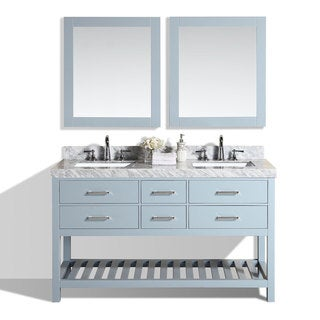60-inch Laguna Gray Double Modern Bathroom Vanity with White Marble Tops
