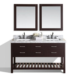 Pacific Collection Laguna 60-inch Espresso Double White Marble Top Modern Bathroom Vanity