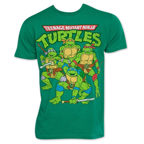 eca4ef36 Shop Teenage Mutant Ninja Turtles TMNT Retro Vintage Group Logo Green  Cotton T-shirt - Free Shipping On Orders Over $45 - Overstock - 12407875