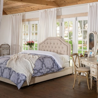 Christopher Knight Home Angelica Tufted Fabric Queen Bed Set