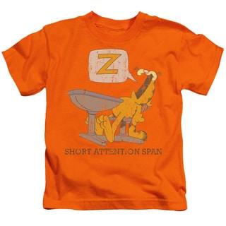 Garfield/Attention Span Short Sleeve Juvenile Graphic T-Shirt in Orange