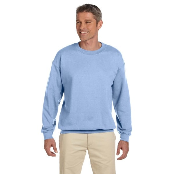 Ultimate Cotton 90/10 Fleece Men's Crew-Neck Light Blue Sweater ...