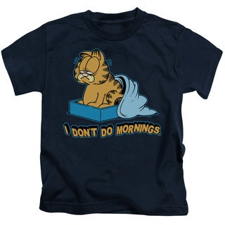 Garfield/I Don't Do Mornings Short Sleeve Juvenile Graphic T-Shirt in Navy