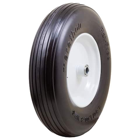 Marathon Industries 00063 4.80/4.00-8-inch Ribbed Flat Free Wheelbarrow Tire