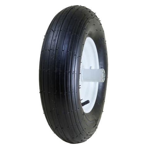 Marathon Industries 20001 8-inch Pneumatic Wheelbarrow Tire W/Ribbed Tread 6-inch Centered Hub