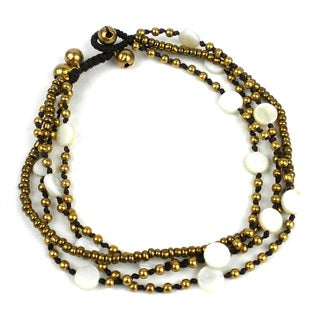 Handmade Many Moons Brass and Shell Bead Anklet in Cream - Global Groove (Thailand)