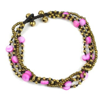 Many Moons Brass and Shell Bead Anklet in Pink - Global Groove (Thailand)