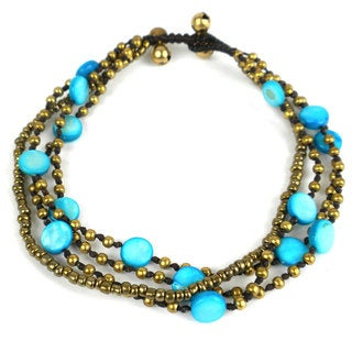 Handmade Many Moons Brass and Shell Bead Anklet in Turquoise - Global Groove (Thailand)