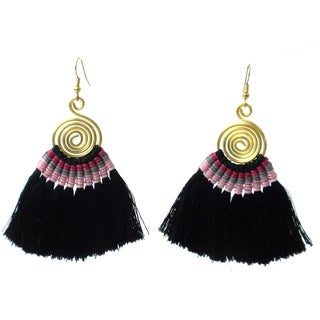 Handmade Tribal Spiral Tassel Earrings in Black - Global Groove (Thailand)