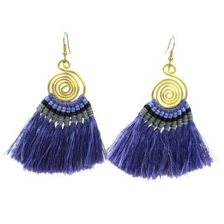 Tribal Spiral Tassel Earrings in Lavender - Global Groove (Thailand)