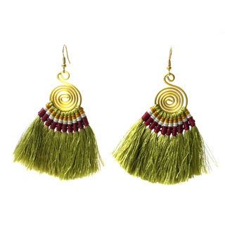 Handmade Tribal Spiral Tassel Earrings in Olive - Global Groove (Thailand)