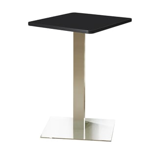 """Mayline Bistro Series 30"""" Stainless Steel Black Square Bar Height Table"""
