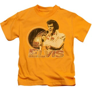 Elvis/Singing Hawaii Style Short Sleeve Juvenile Graphic T-Shirt in Gold