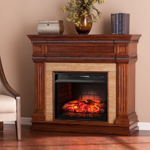 Gracewood Hollow Benson Oak Saddle Stone Look Infrared Electric Fireplace