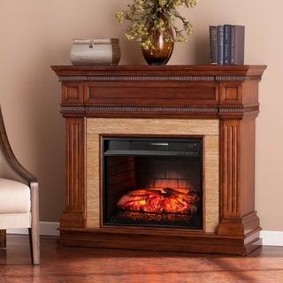 Harper Blvd Bowen Oak Saddle Stone Look Infrared Electric Fireplace