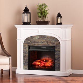 Harper Blvd Kelley White Stacked Stone Effect Infrared Electric Fireplace
