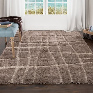 "Lavish Home Everest Shag Sculptured Stripes Rug (3'3"" x 5')"