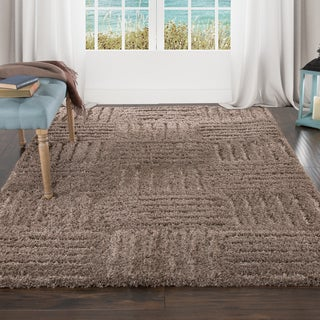 "Lavish Home Everest Shag Sculptured Squares Rug (3'3"" x 5')"
