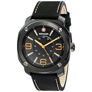Wenger Men's 01.1051.106 'Escort' Black Leather Watch