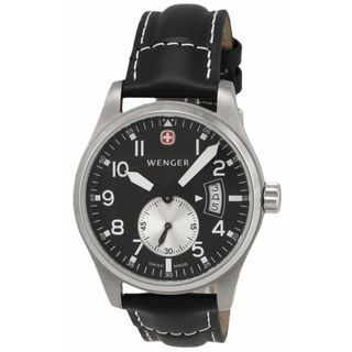 Wenger Men's 72470 'AeroGraph Vintage' Black Leather Watch